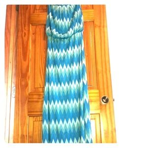 Strapless and Lined  Blue Chevron Print Maxi Dress